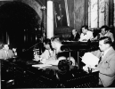 1951 Moody Investigation Walter P. Reuther at far end of table.  Seated at rear table:  James Lincoln, G. Mennen Williams and Blair Moody.