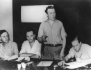 "As head of the GM Department of the UAW, Reuther led the strike.  ""Left to Right:  Victor Reuther, William Stevenson, Walter Reuther, Robert Pitt.""1939"