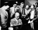 "At Truman Home, August 26, 1959.-L-R. Walter Reuther, Ken Worley-Region 5, harry Truman, Guy Nunn, Theodore Hawkes- Region 5, Howard Lipton, Paul Schrade.  Signature: ""Best Wishes to the children of Howard Lipton, 8/26/59."""""