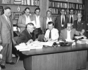 Walter Reuther signing contract.-1953