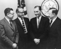 "Conway Sworn in as Undersecretary of HUD.-Left to Right:  Roy Reuther, Victor Reuther, Jack Conway, Walter Reuther.""ca. 1965"""