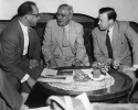 Discussing Trade Union problems in the lobby of the Vienna Bristol Hotle are right to left Mr. Walter Reuther Preseident of CIO, Johann Boehm, President of AFTU and Mr. Victor Reuther, the CIO President's brother and former CIO Representative to Europe. July 30, 1953