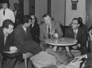 Reuther stop-over Beirut April 3, 1956, Beirut International Airport.  Seated left to right:  Newspaper reporter; Khalil Salim, Embassy Interpreter; Nouri Boudali, ICFTU Middle East Represenative; Walter Reuther, Ahmad Shuman, Secretary General; Jam'iat Federation.  April 3, 1956