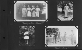 Photo Album 30 - Upper left, three Reuther brothers dressed as women.  Upper right - Roy Reuther in graduation robes.  Lower left - Christine Reuther holding a cat.