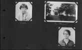 Photo Album 32 - Upper left - Christine Reuther.  The Reuther home in Wheeling, West Virginia.  Lower right - Ana Reuther.