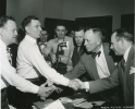 "ca. 1950""General Motors contract settlement- first partially paid hospitalization and medical program at union shop.  J.W. Livingston, T.A. Johnstone, Irving Bluestone, Guy Nunn, Walter Reuther, Harry Anderson (GM), and Lou Seaton (GM)."