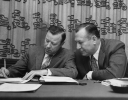 "Walter Reuther and Al Whitehouse seated at IUD Conference.""1957"