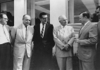 "Left to Right:  Howard Lipton, Theodore Hawkes (Region 5), Leonard Woodcock, President Harry Truman, Walter Reuther, Ken Worley (region 5).""August 26, 1958"
