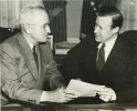 Former President Harry S. Truman and Walter Reuther at the Truman Library, 1957.