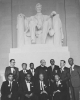 Civil rights leaders in Washington at the time of the 1963 March to Freedom.  Stading at right is Walter Reuther and Roy Wilkins.  Seated at far left is Whitney Young, unidentified, A. Philip Randolph and Martin Luther King, Jr.