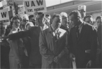 "Walter Reuther is being interviewed by Martin Agronsky while participating in the ""Get America Back to Work"" march to Washington D.C.""Lee Romano, Walter Reuther, Martin Agronsky"