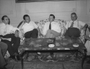 "Joint meeting of UIL_CISL secretariats at Grand Hotel Rome, July 24, 1953.""Left to Right:  Paolo Cavezzali, CISL Secretariat; Italo Viglionesi, UIL Secretariat; Walter Reuther; Giulio Pastore, Sec. Gen. CISL."""