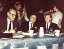 Reuther Brother at UAW 20th Constitutional Convention, Long Beach California. May 16-21, 1966 (left to right) Victor Reuther, Roy Reuther, Walter Reuther