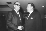 Walter Reuther with California Gov. Pat Brown in 1965 at the UAW-CIO 6th Biennial Convention.  Decmeber 9, 1965