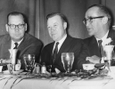 "Left to Right:  Joe Beirne, CWA Pres.; Walter Reuther UAW Pres.; Bill Smallwood, Sec. Treas. CWA.""CWA Convention, June 10-14, 1963.""Kansas City, MO."