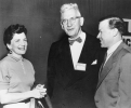 "At the 6th UAW-CIO Education Conference, Chicago, Illinois.""Left to Right:  May Reuther, Senator Paul Douglas, Walter Reuther.""April, 1954"""