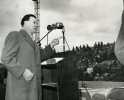 Walter Reuther speaks to the crowd during a Chrysler strike in 1950.""