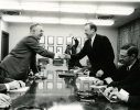 "General Motors/Joint Study Committee 1963""Louis Seaton (GM) and Walter Reuther (UAW) shake hands.  Irving Bluestone, assistant to Reuther is right."