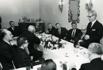 Walter Reuther with John F. Kennedy, Secretary of Labor Arthur Goldberg standing.