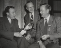 Walter Reuther speaking with Indiana CIO President Neal Edwards.  Indiana State CIO Covention, Oct. 20-22, 1950.