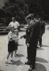 Walter Reuther shaking hands with some children at Region's 1965 Summer School.
