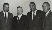 "Reuther meets with Negro Leaders.  Left to Right:  Whitney Young, Director of the National Urban League, Walter Reuther, James Farmer, National director of CORE, Roy Wilkins, NAACP.""February 13, 1963"""
