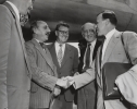CIO PRESIDENT VISITING VIENNA, Vienna, July 30, 1953 - Walter P. Reuther (right) shaking hands at the Tulln airport with Mr. Geiger, Secretary of the AFTU, who came to welcome him on  behalf of the Austrian Federation of Trade Unions.""