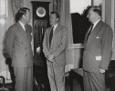 "CIO PRESIDENT REUTHER VISITING VIENNA  ""Vienna, July 31, 1953 - This morning at 0900 a.m. Mr. Reuther paid a call on US Amabassador Thompson at the American Embassy in Vienna.  Pictured here left to right:  Ambassador Thompson, Mr. Reuther and G.E. Meyer, Cheif of MEC Mission to Austria in the Ambassador's Office."""