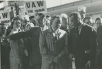 "Walter Reuther being interviewed by Martin Agronsky is Walter Reuther participating in the ""Get America Back to Work"" march to Washington.""left to right:-Lee Romano, Walter Reuther, Martin Agronsky""April, 1959"""