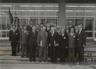 "Walter (center front) and Victor Reuther (far left front) posing for group photo while visiting in Japan.""November 17, 1962"