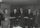 """International Solidarity Forever""  Walter and Victor Reuther in group photo with Japanese labor leaders. Left to right:-Haruo Wada, General Sercretary, DOMEI KAIGI-Walter P. REuther-Ray Ross-Kaoru OHTA, President, SOHYO""Tokyo, at farewell reception given by UAW delegates to express thanks to Japanese Hosts.""November 24, 1962"