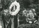 Walter Reuther placing a ceremonial wreath while visiting Japan.  November, 1962