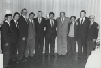 "Walter (5th from left) and Victor Reuther (3rd from left) posing for group photo with Japanese labor leaders.""November, 1962"