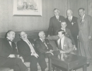 Walter Reuther with AFL and CIO officials at the time of the merger in 1955. December 1955