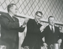 "Left to Right:""Senator Hubert Humphrey, Orville Freeman; Sec. Agriculture, Walter P. Reuther.""May 1963"